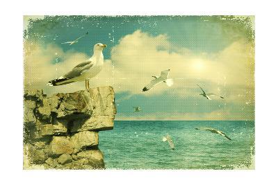Seagulls In The Sky.Vintage Nature Seascape Background-GeraKTV-Art Print
