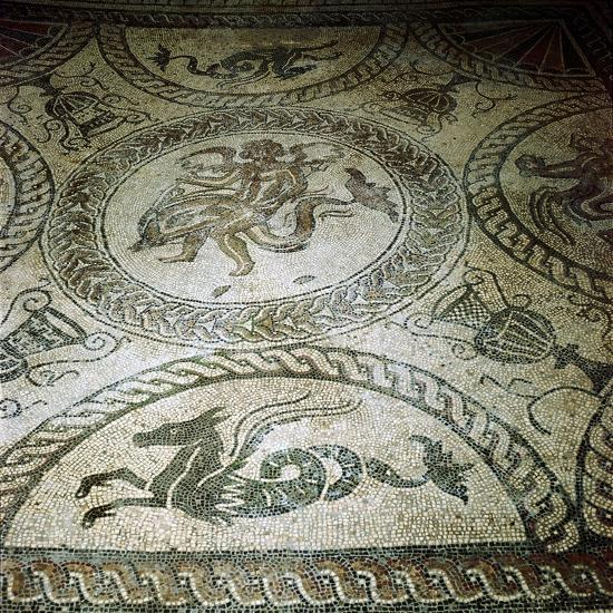 Seahorse and Cupid on Dolphin mosaic, Fishbourne Roman Villa, Sussex. Artist: Unknown-Unknown-Giclee Print