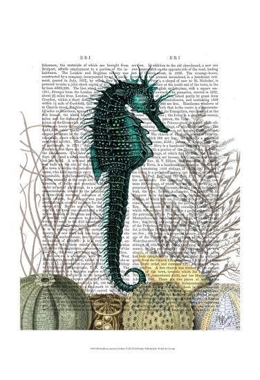 SeaHorse and Sea Urchins-Fab Funky-Art Print