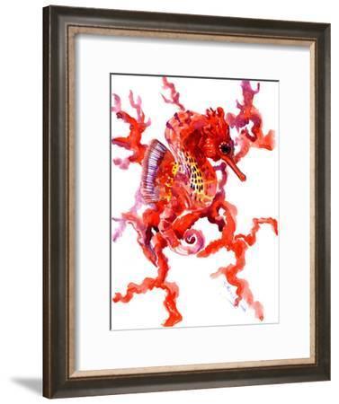 Seahorse Coral Red-Suren Nersisyan-Framed Art Print