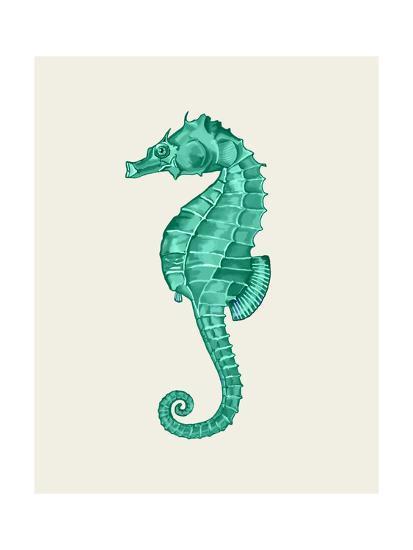 Seahorse in Green-Fab Funky-Art Print