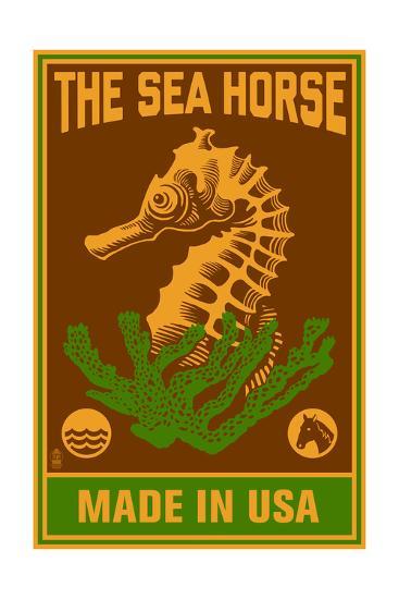 Seahorse Woodblock (Red and Green)-Lantern Press-Art Print