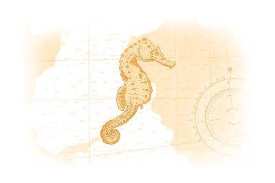 Seahorse - Yellow - Coastal Icon-Lantern Press-Art Print