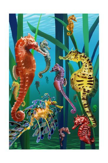 Seahorses-Lantern Press-Art Print
