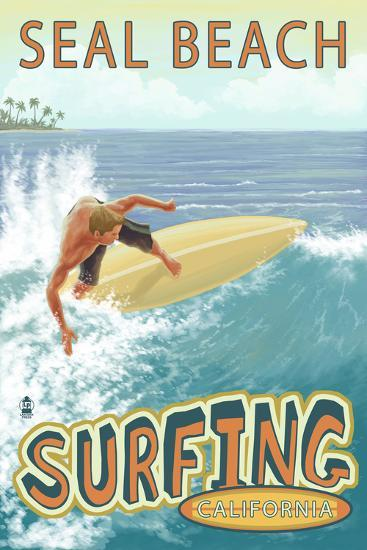 Seal Beach, California - Surfer Tropical-Lantern Press-Wall Mural