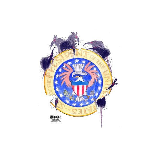 Seal of the President of the United States. E. pluribus unum.-Ann Telnaes-Art Print
