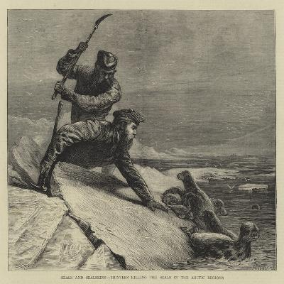 Seals and Sealskins, Hunters Killing the Seals in the Arctic Regions-Samuel Edmund Waller-Giclee Print