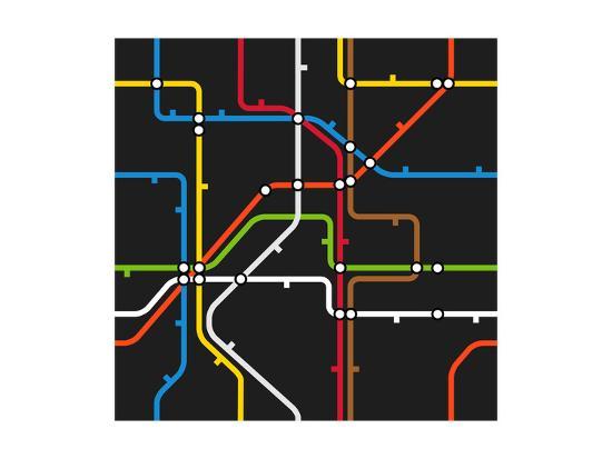 Seamless Background of Abstract Metro Scheme-tovovan-Art Print