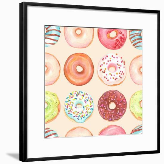 Seamless Background of Watercolor Colorful Donuts Glazed.-Nikiparonak-Framed Art Print
