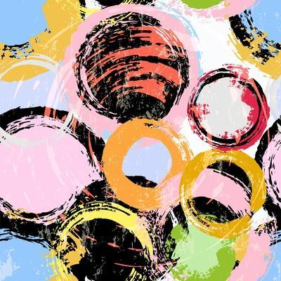 Seamless Background Pattern, with Circles, Paint Strokes and Splashes-Kirsten Hinte-Art Print