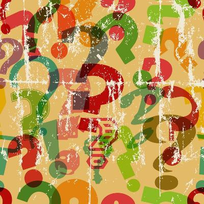 Seamless Background Pattern with Question Mark, Grungy Vector-Thomas Bethge-Art Print