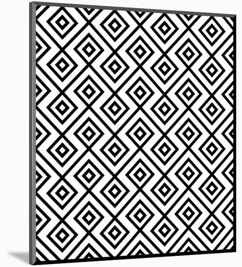 Seamless Black And White Diamonte- viviv-Mounted Print