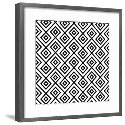 Seamless Black And White Diamonte- viviv-Framed Premium Giclee Print