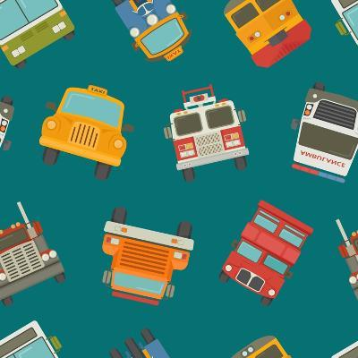 Seamless Cars and Pattern- Ratch-Art Print