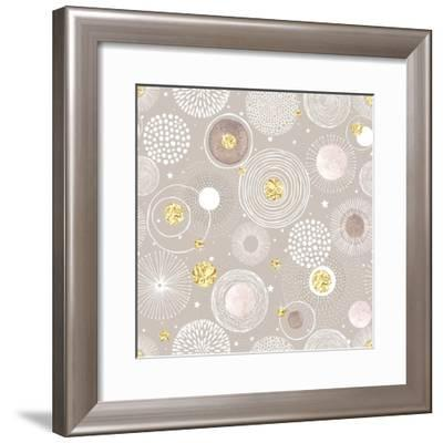 Seamless Christmas Background with Doodle Circles Randomly Distributed, Golden Foil Circles, Waterc-Nikiparonak-Framed Premium Giclee Print