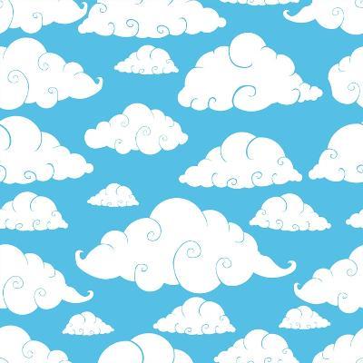 Seamless Cloud Pattern- Robin2-Art Print