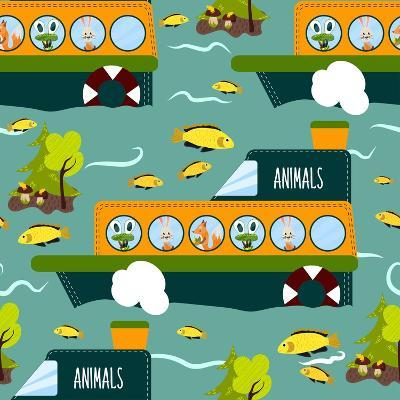 Seamless Cute Animal Wild Forest on the Ship Texture Design. Cartoon Style. Vector Illustration-Alena Dubinets-Art Print
