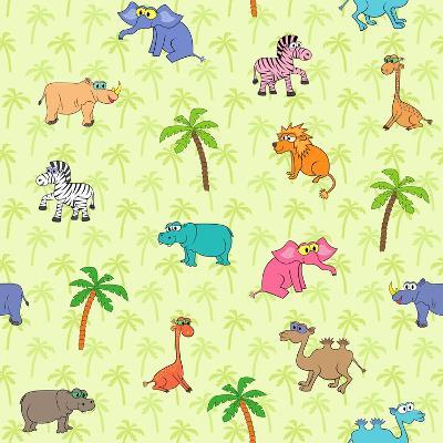 Seamless Different South Animals and Plants Pattern with Cartoon Elephant, Camel, Hippopotamus-Nataliia Vzyshnevska-Art Print