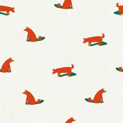 Seamless Dog Pattern-Tasiania-Art Print