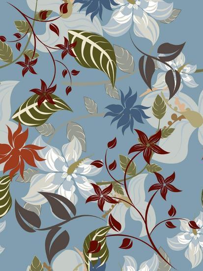 Seamless Floral Pattern Background - Illustration-Jxana-Art Print