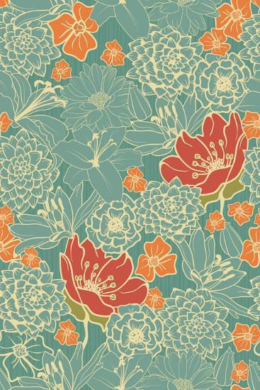 Seamless Floral Pattern with Red Flowers on Monochrome Background- DeMih-Art Print