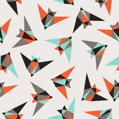 Seamless Geometric Pattern. Flying Birds- Graphiteska-Art Print