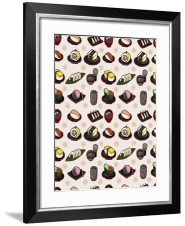 Seamless Japanese Food Pattern-notkoo-Framed Art Print