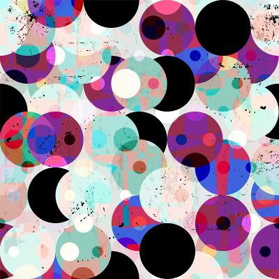 Seamless Pattern Background, Retro/Vintage Style, with Circles, Strokes and Splashes-Kirsten Hinte-Art Print