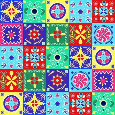 Seamless Pattern Holiday Cheerful Bright Design - Illustration- Fotinia-Art Print