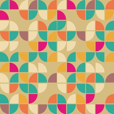 Seamless Pattern in Retro Style. Disco Vintage Background.-Tatsiana Tsyhanova-Art Print