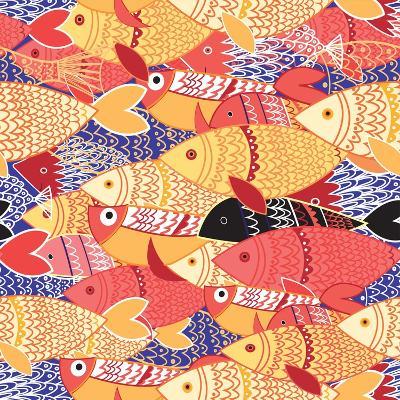 Seamless Pattern of Bright Fish-Tatiana Korchemkina-Art Print