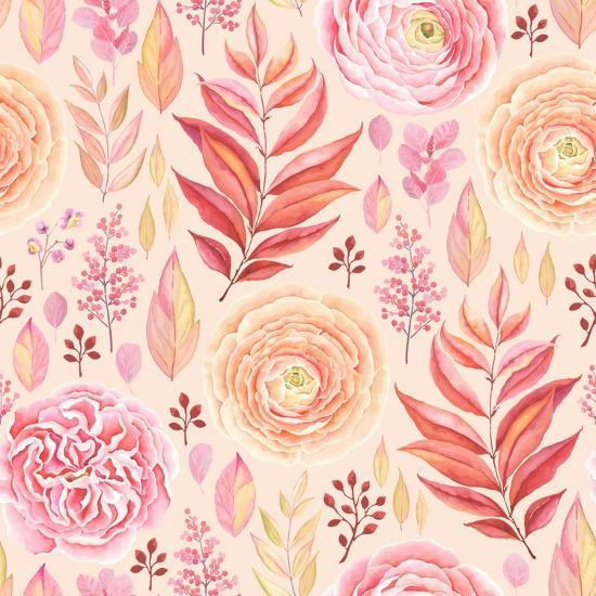 Seamless Pattern of English Rose, Ranunculus, Colorful Branches and Leaves Pink, Red, Yellow and Or-Nikiparonak-Art Print