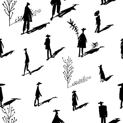 Seamless Pattern of Trees and People Silhouettes with Shadows Hand-Drawn Ink. Art Retro Background- Yurta-Art Print