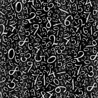 Seamless Pattern: Simple Numbers On Blackboard Background-pashabo-Art Print