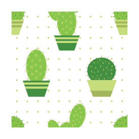 Seamless Pattern with Cactus and Dots-Natalia Petrova-Art Print