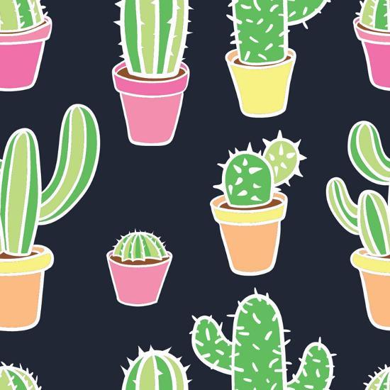 Seamless Pattern with Cactus. Pattern of Cactus. Cacti in Pots. Vector Background. Cute Cartoon Cac-Asya Bikmaeva-Art Print