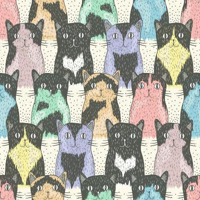 Seamless Pattern With Cute Cats For Children-cherry blossom girl-Art Print