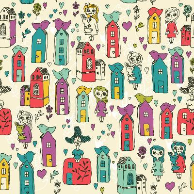 Seamless Pattern with Cute Houses-Tatsiana Tsyhanova-Art Print