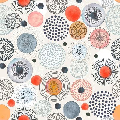Seamless Pattern with Doodle Circles Randomly Distributed, Vector Abstraction Illustration.-Nikiparonak-Art Print