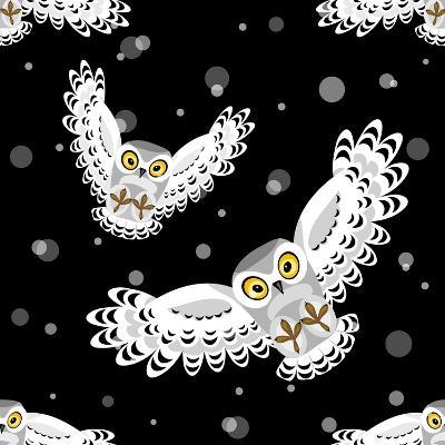 Seamless Pattern with Flying Polar Owls-Viktoriia Debopre-Art Print