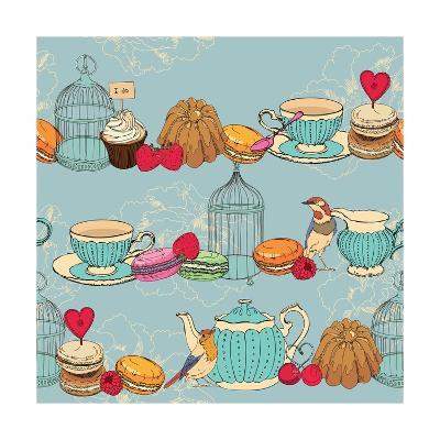 Seamless Pattern with Tea, Cage, Coffee Pot, Cup, Jelly, Cherry, Berry, Macaroon-Tatsiana Tsyhanova-Art Print