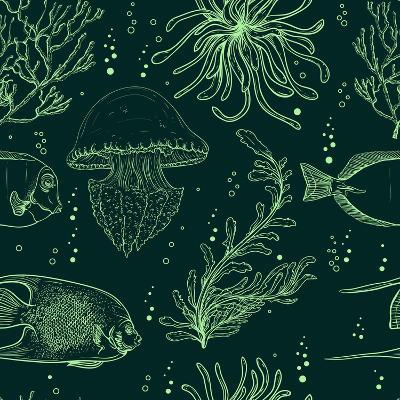 Seamless Pattern with Tropical Fish, Jellyfish, Marine Plants and Seaweed. Vintage Hand Drawn Vecto-Nikolayenko Yekaterina-Art Print