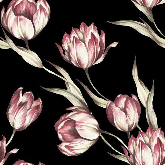 Seamless Pattern with Tulips. Watercolor Illustration.- Adelveys-Art Print