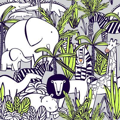 Seamless Pattern with Wild Animals : Elephant with Elephant, Zebra, Camel, Tiger, Lion, Giraffe, Cr-Yulya Shmidt-Art Print