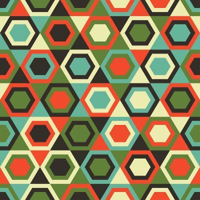 Seamless Retro Geometric Pattern-Tracie Andrews-Art Print