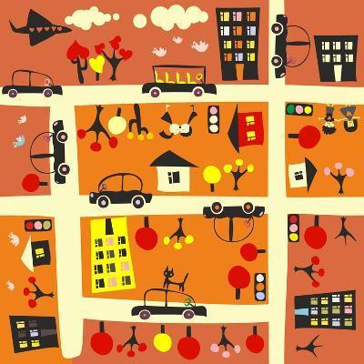 Seamless Street in Autumn-Anastasiia Kucherenko-Art Print