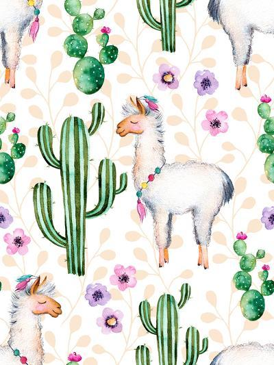 Seamless Texture with High Quality Hand Painted Watercolor Elements for Your Design with Cactus Pla-katerinas39-Art Print