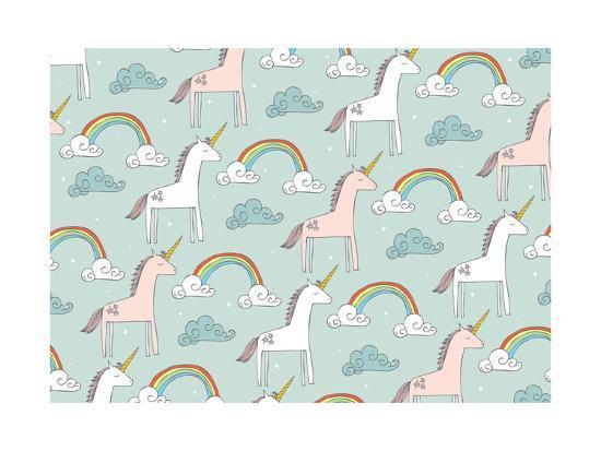 Seamless Unicorn Vector/Illustration- lyeyee-Art Print