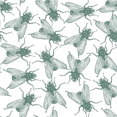 Seamless Vector Flies Pattern in Vintage Engraved Style. Isolated, Grouped, Transparent Background- lestyan-Art Print