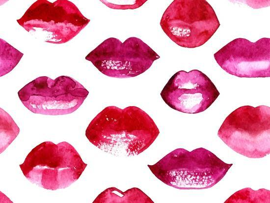 Seamless Vector Pattern with Red Watercolor Lips-Jet-Art Print